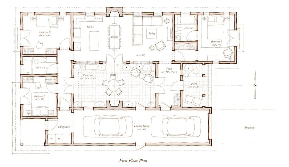 Kida Actually Love The Flow And As Always A Courtyard Casa Adosada A Design For Habitat For Human My House Plans Modern Floor Plans Courtyard House Plans