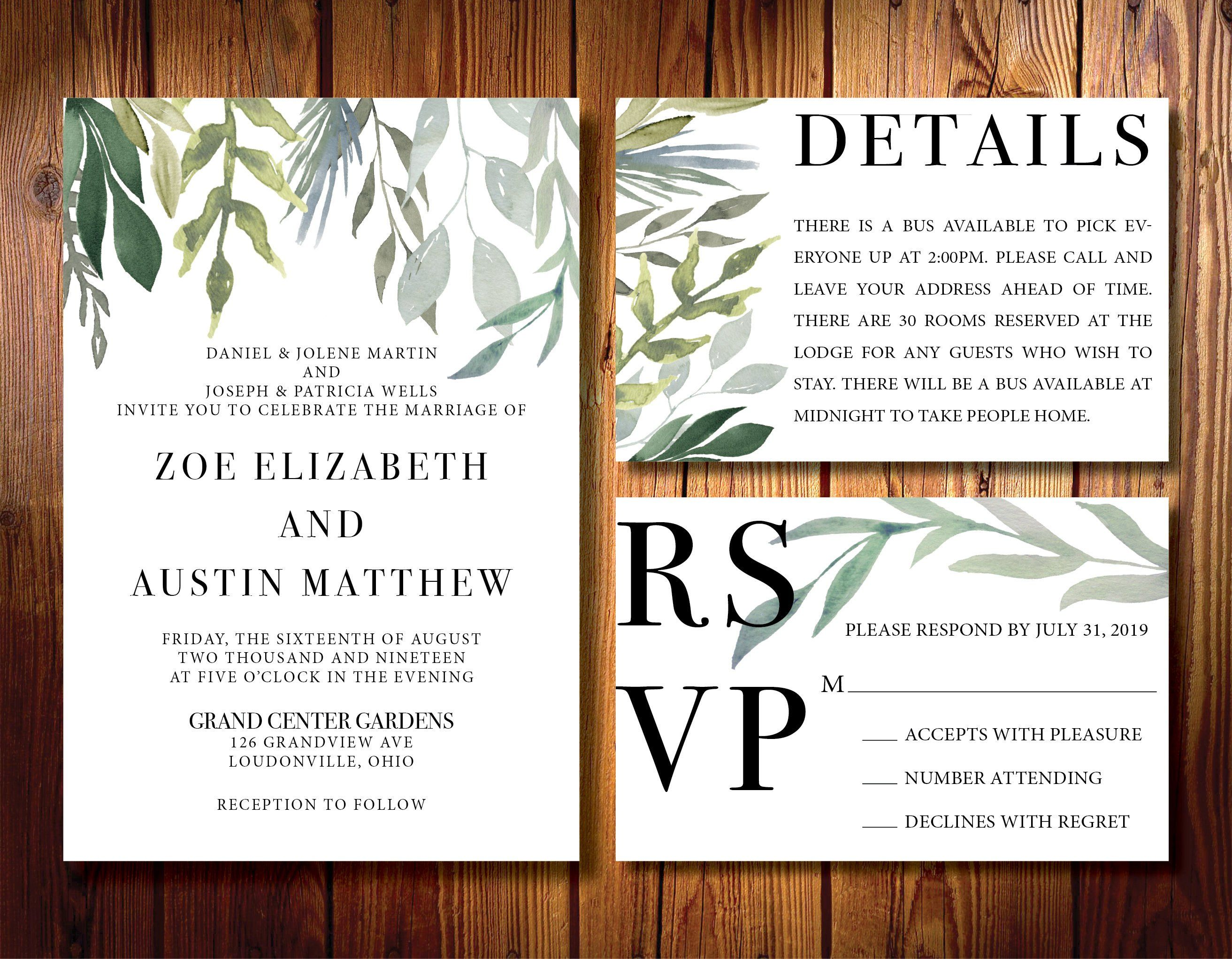 Silver Sage Printed Wedding Invitations Rsvp Detail