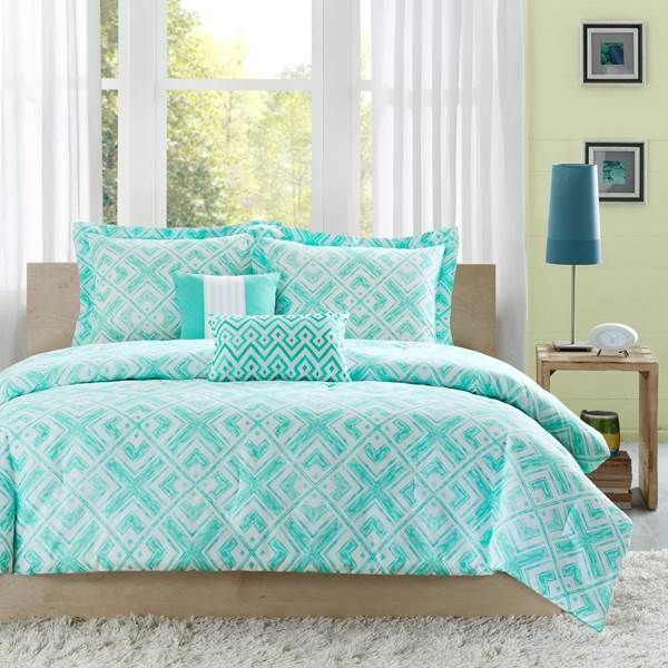 The teal and white geometric square print on the Natalie comforter ... : teal quilt bedding - Adamdwight.com