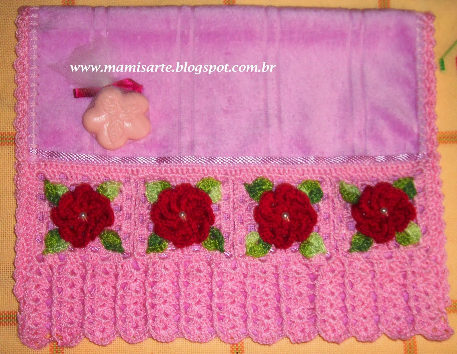 Crochet et Tricot da Mamis: Passo a Passo - Toalha de Lavabo com Barrado