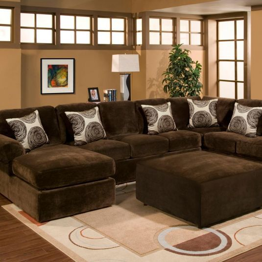 The Bradley Brown Sectional Is Covered In The Stylishly Soft Champion Micro Velvet Fabric In A Sectional Sofa With Chaise Brown Sectional Sofa Sectional Sofa