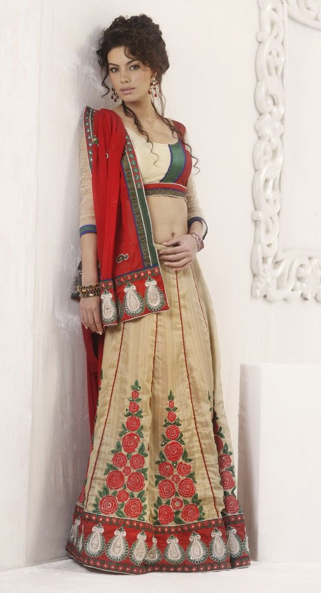 Flamboyant Beige Brown & Coral Embroidered #Saree. All Of This Accenting The Feminine Beauty, With This Beige Brown & Coral Art #Silk #Saree - Price: $105