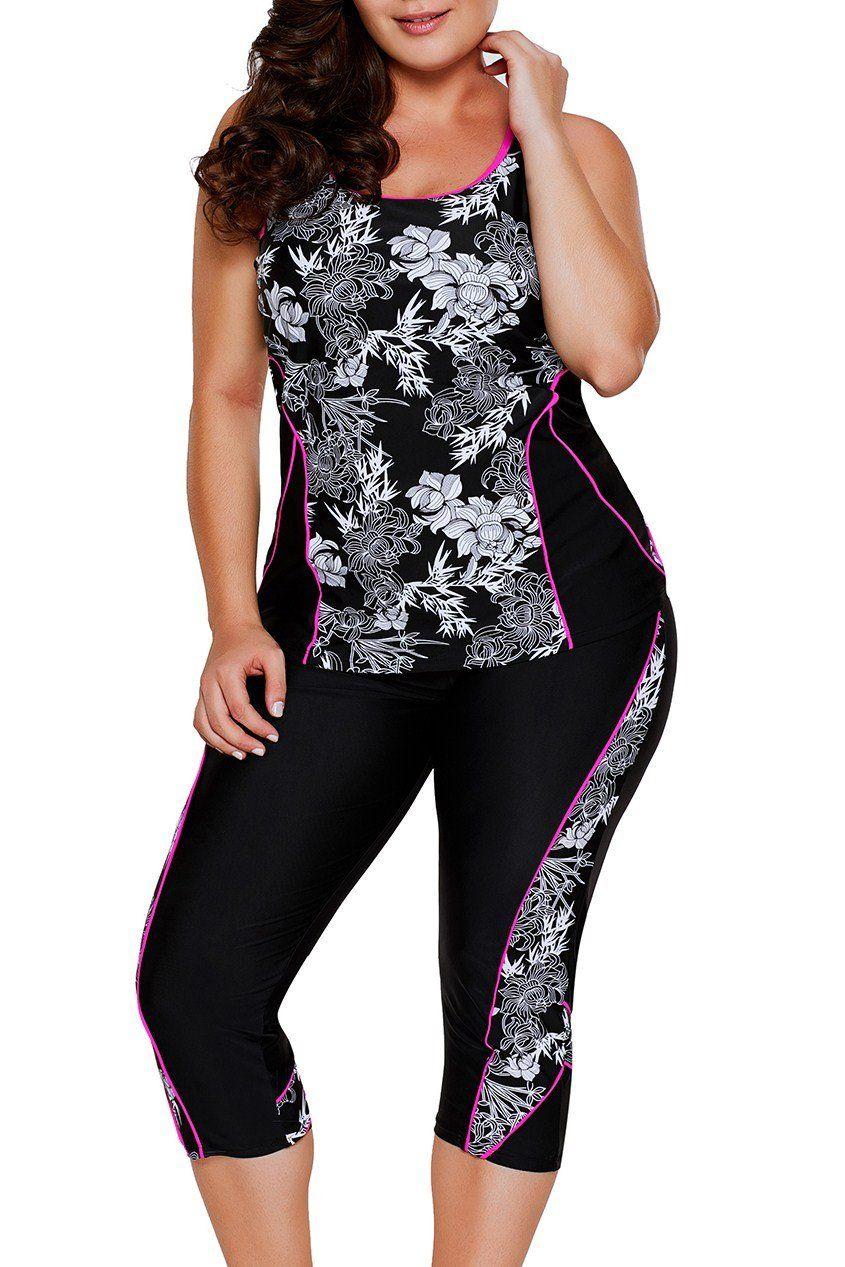 d61cef4e7c Carved Flowery Print Black Tankini and Capris Set | Lady's Fashions ...