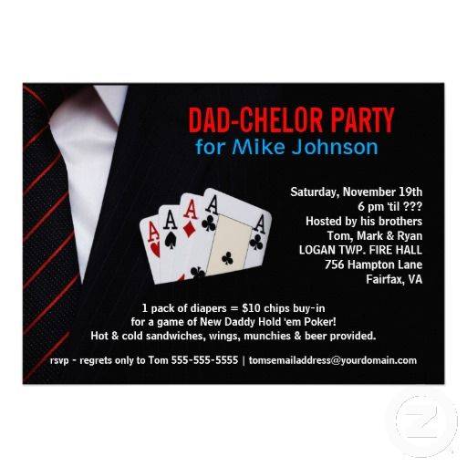 Dadchelor Sophisticated Poker Party Invitations Party Planning