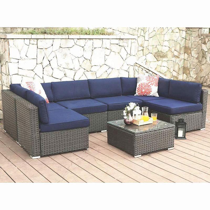 0af5527c9aec PHI VILLA 7-Piece Patio Rattan Wicker Outdoor Sectional Sofa Blue in ...