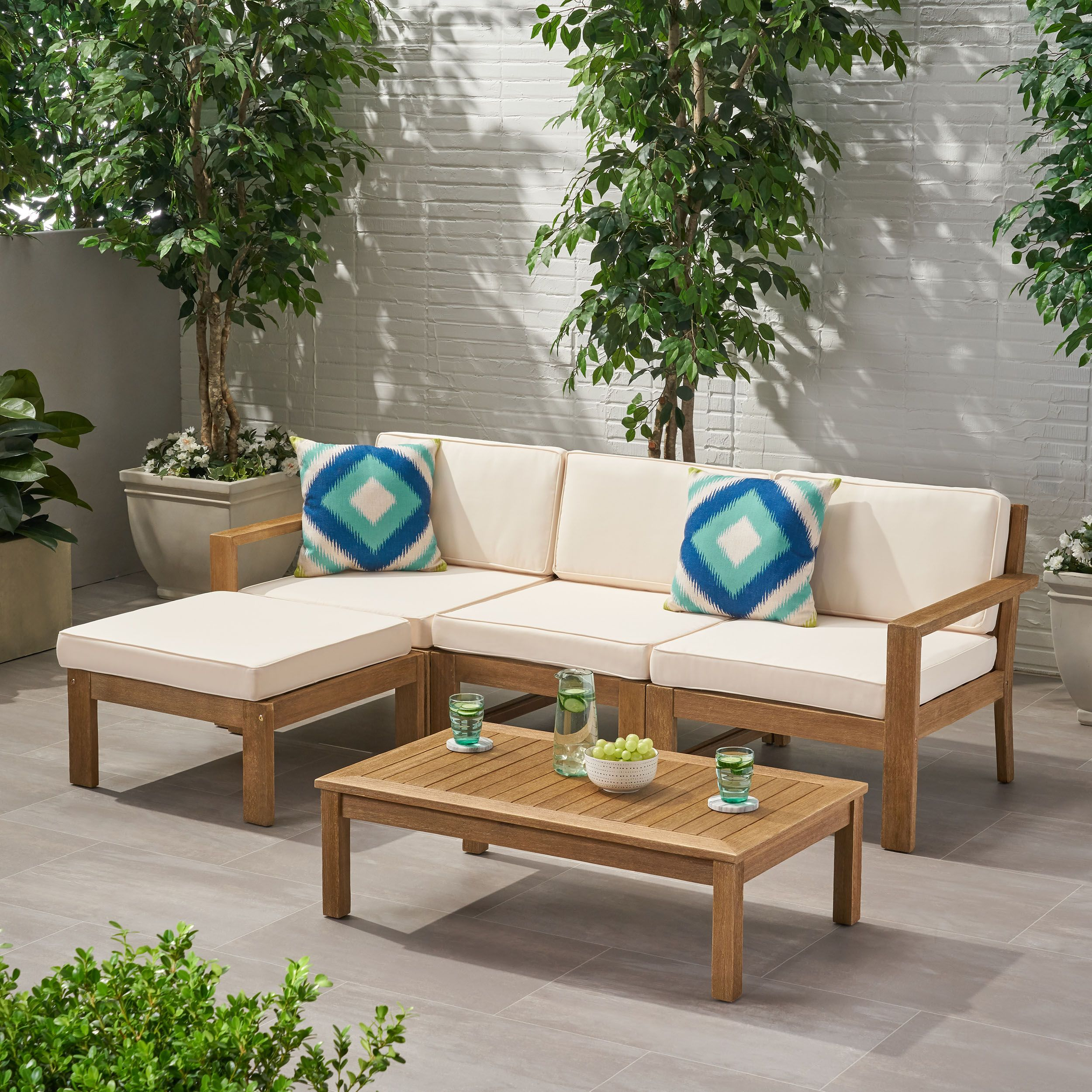 Faviola Ana Outdoor 3 Seater Acacia Wood Sofa Sectional With Cushions Light Brown And Cream Walmart Com Wood Sofa Sectional Sofa Patio Sectional