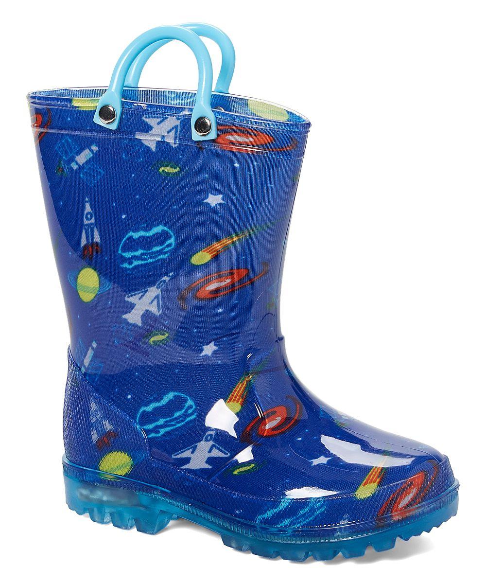 37d744df2b LILLY of NEW YORK Blue Cosmos Light-Up Rain Boot - Boys | zulily ...