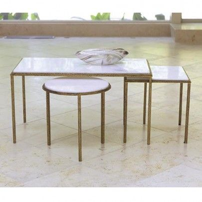 Set of Hammered Gold Tables by Global Views Can be purchased as