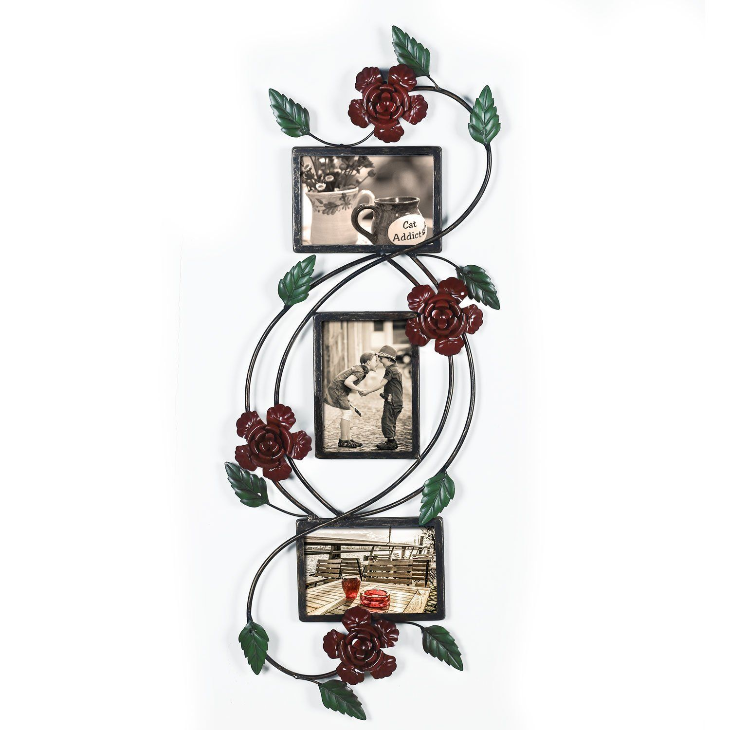 Adeco brown black decorative 3 opening collage bronze iron metal adeco black decorative 3 opening collage bronze metal wall haning rose scroll picture frame jeuxipadfo Images