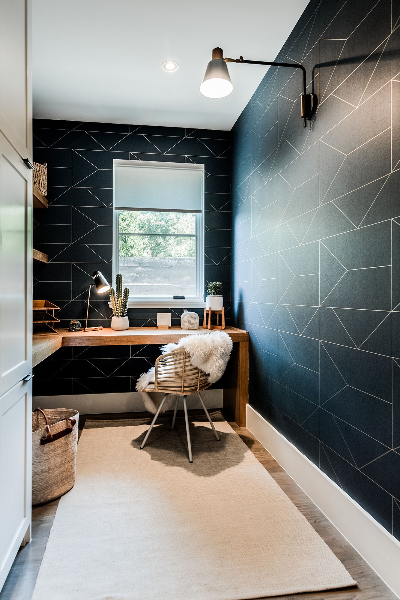 Lakewood Home Modern home office, geometric wallpaper
