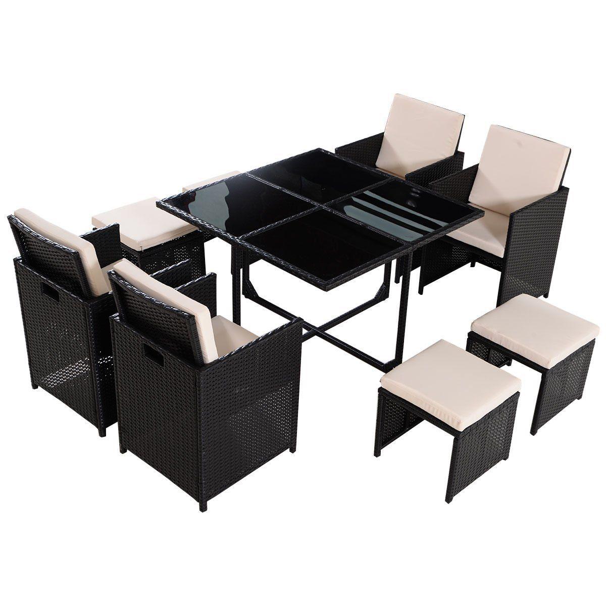 Tangkula 9 Pcs Black Patio Garden Rattan Wicker Sofa Set Furniture