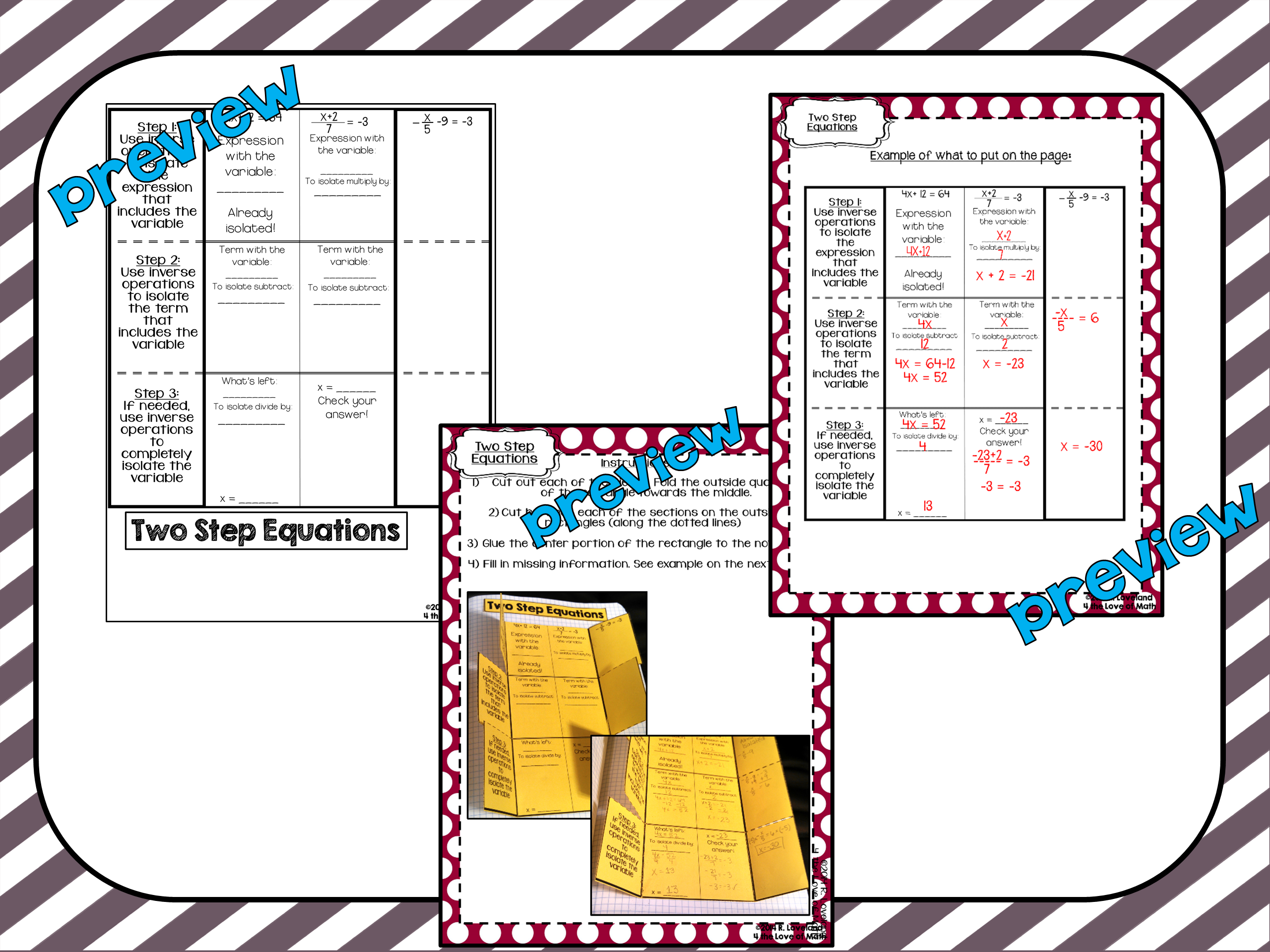 Solving Two Step Equations Foldable Page