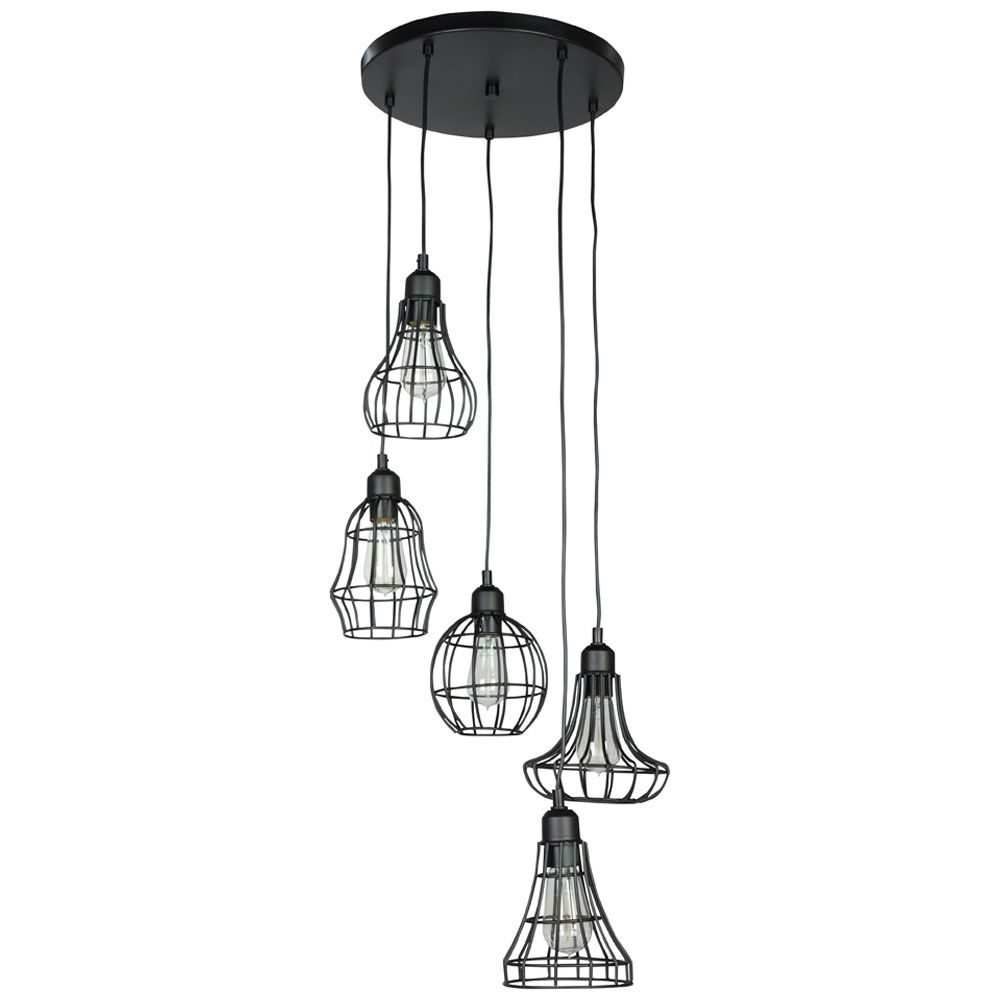 luminaires industriels suspensions metal suspension noir cage industriel vintage suspensions. Black Bedroom Furniture Sets. Home Design Ideas