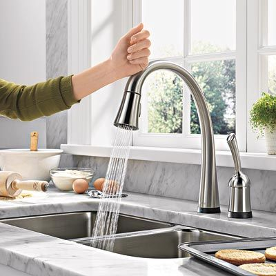 Tap The Delta Faucet To Turn On And Off. Also Like The Counter Top.  (Deltau0027s Pilar Touch 2 0)