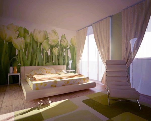 gelbe tulpen bemalungen an der wand im schlafzimmer - 30