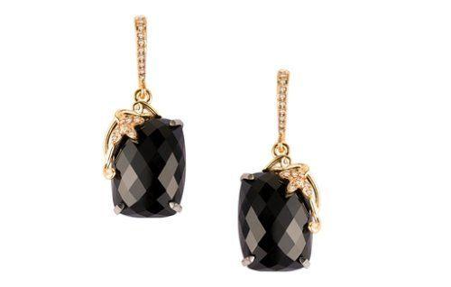 Arya Esha Demi black onyx and diamond earrings