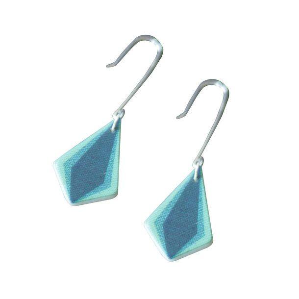 Ceramic Diamond Earrings Blue