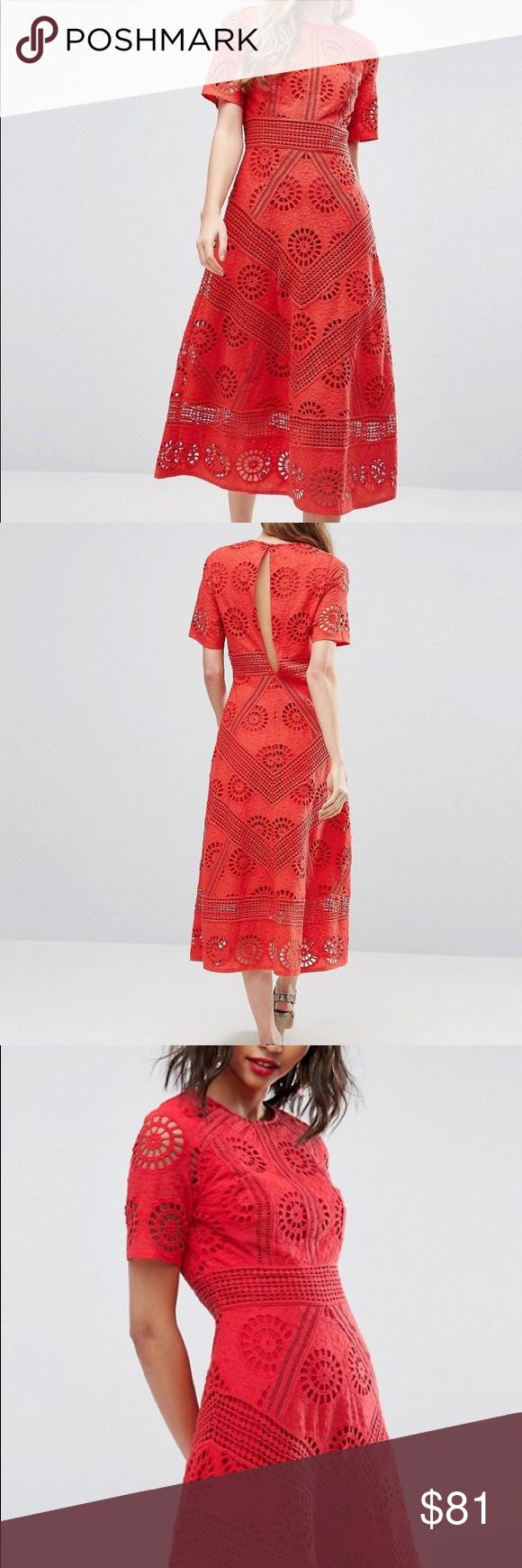 710a9e3850c ASOS PREMIUM Midi Dress in Broderie Fabric New