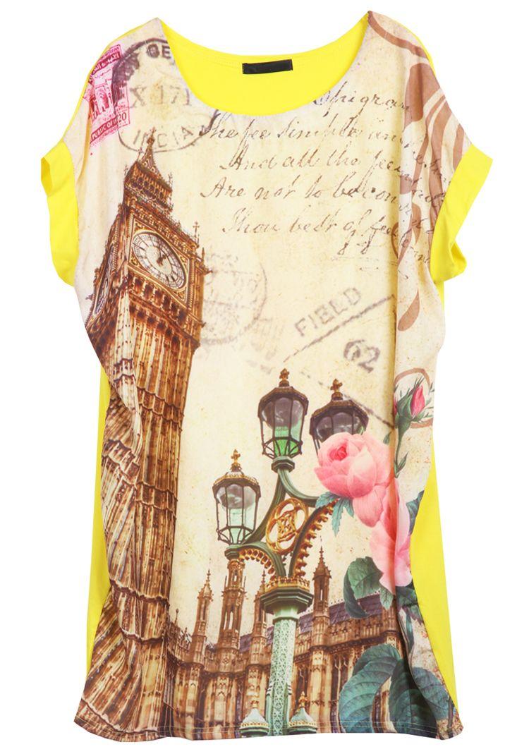 Yellow Short Sleeve Retro Clock Print TShirt Sheinside