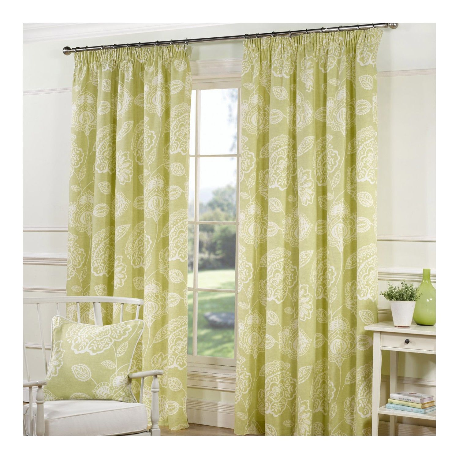 Buy Lizzy Green Lined Tape Curtains - Matching Cushions Available ...