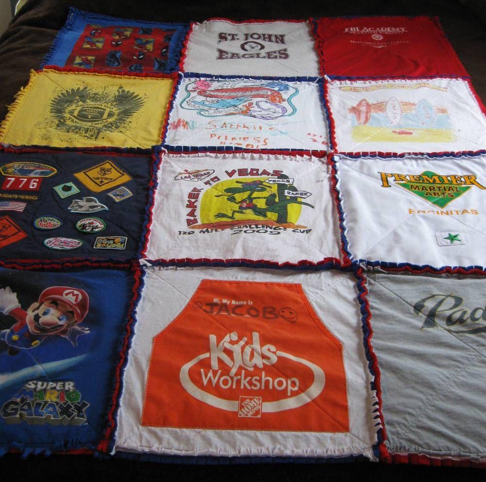Custom tshirt memory keepsake rag quilt with flannel back