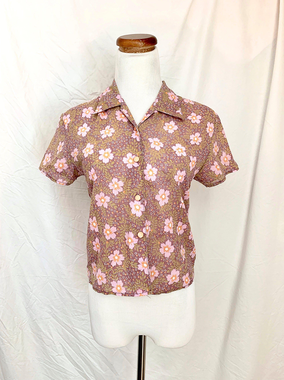 Vintage 1980s Jewel Tone Floral Silk Button Down Blouse