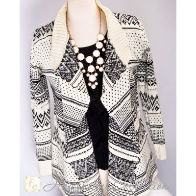 Black and White Cardigan www.hawthorne-collection.com