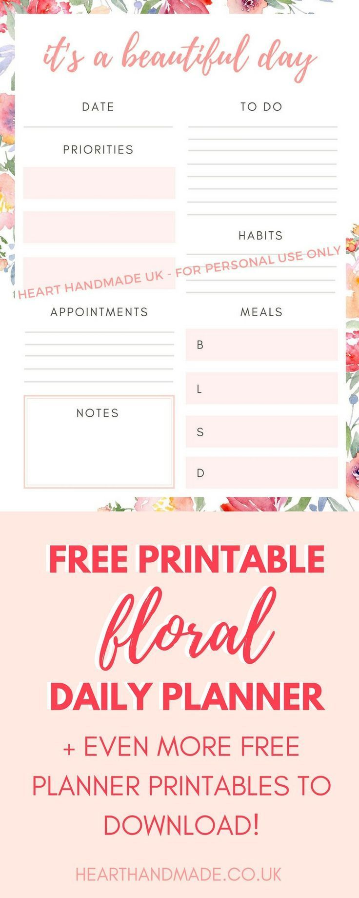 If you love free planner printables then you need to download this free printable daily planner that has beautiful watercolor flowers in the background. Stay organized and ultra productive with this free daily planner printable