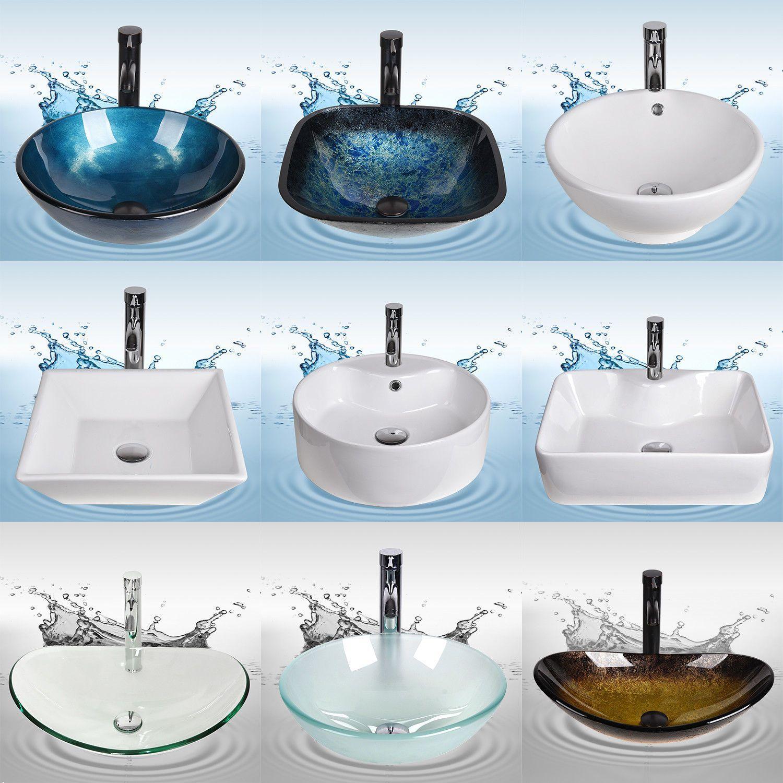 Bathroom Vessel Sink Single Faucet Drain Combo Tempered Glass Vanity Basin Bowl Bathroom Faucets Vessel Sink Bathroom Bathroom Faucets Modern Bathroom Sink