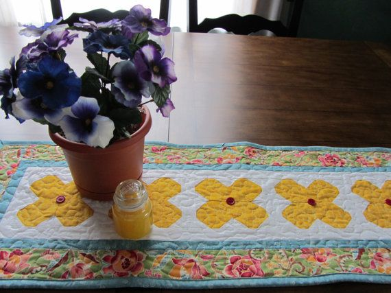 Patchwork Floral Quilted Table Runner by PatsPassionQuilteds