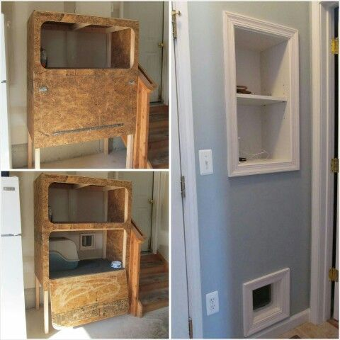 Cat Door Goes Out To The Enclosed Cat Box Shelving In The Garage Still Have Storage Cat Is Still Indoor Cat And No Sme Dog House Diy Litter Box Dog Storage