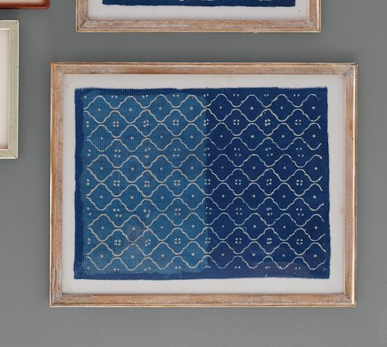 Framed Blue Textile Art Pottery Barn My Digs