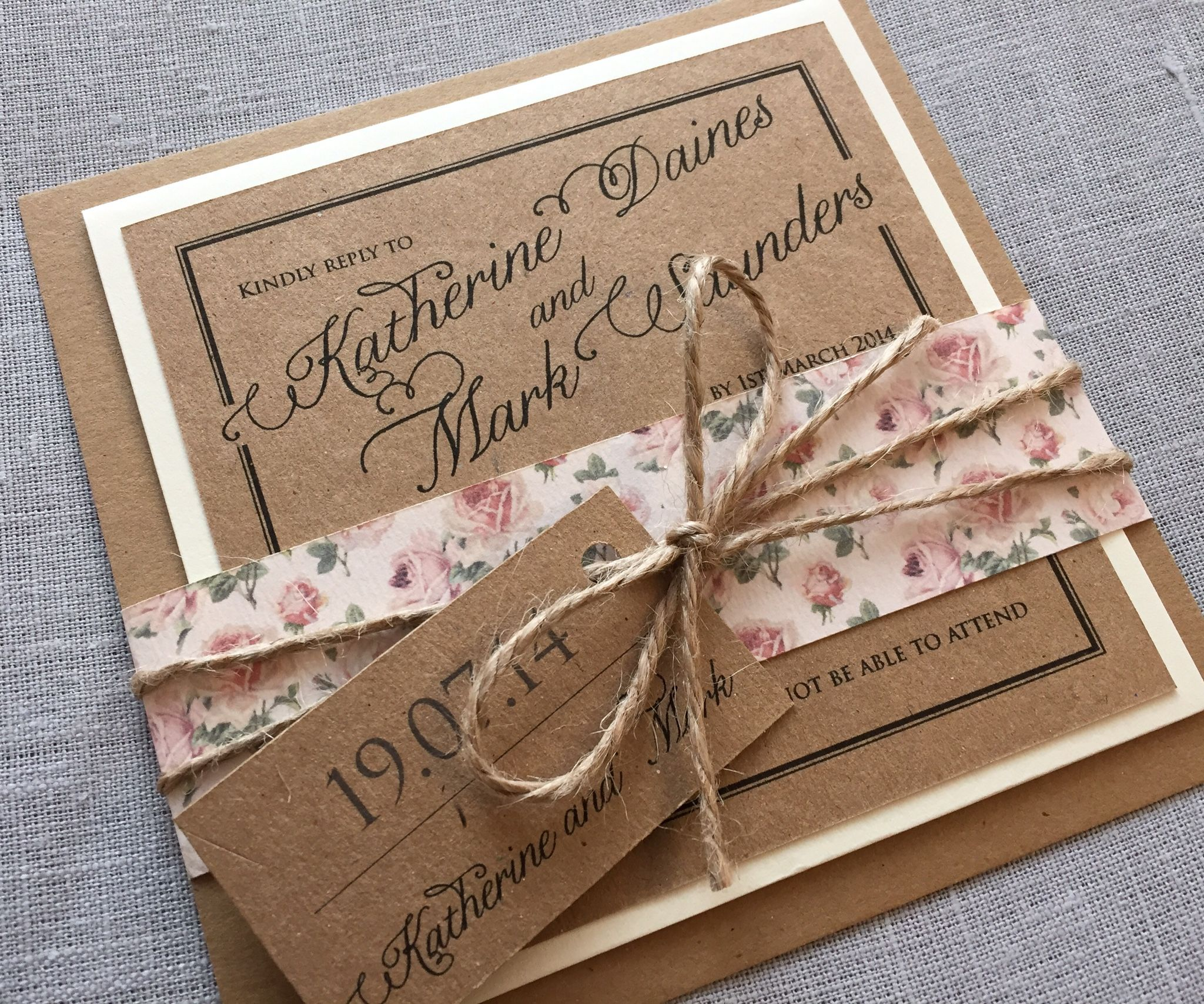 Rustic Wedding Invitations With Pink Roses And Twine Beautiful