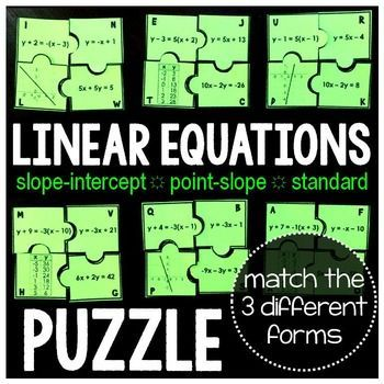 Linear Equations Puzzle Equation Math And Algebra