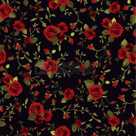Seamless Floral Pattern With Of Red Roses On Black Background Red Roses Background Red Roses Black Backgrounds