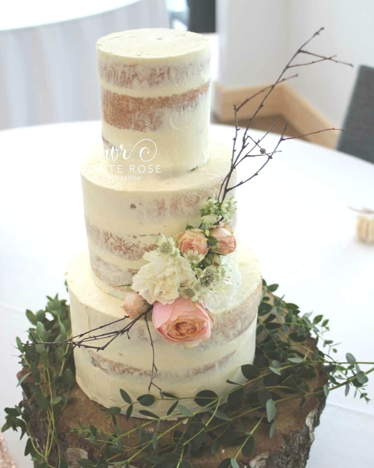 Rustic Semi-Naked Wedding Cake with Peach Roses and Rustic Branches ...