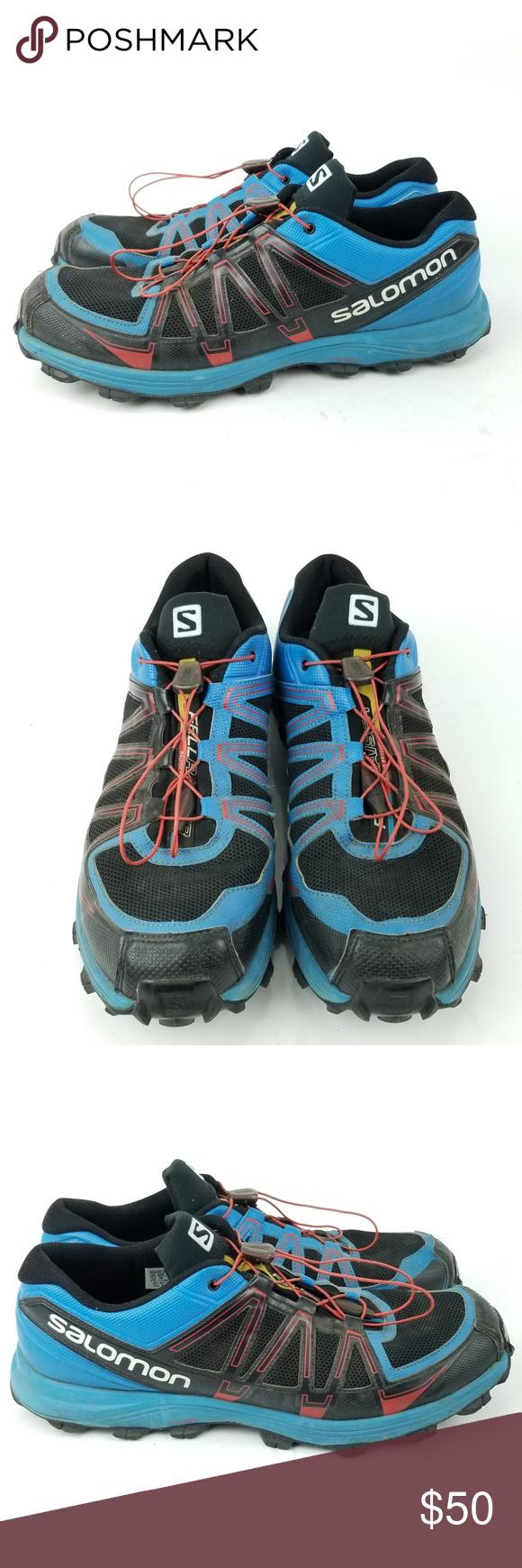 new arrival 9a43d 88240 Salomon Fellraiser Trail Running Shoes Sz 13 EH68 Mens Salomon Fellraiser  Black Blue Red Trail Running Shoes Sz 13 Very Good Used Condition, Light  Wear, ...