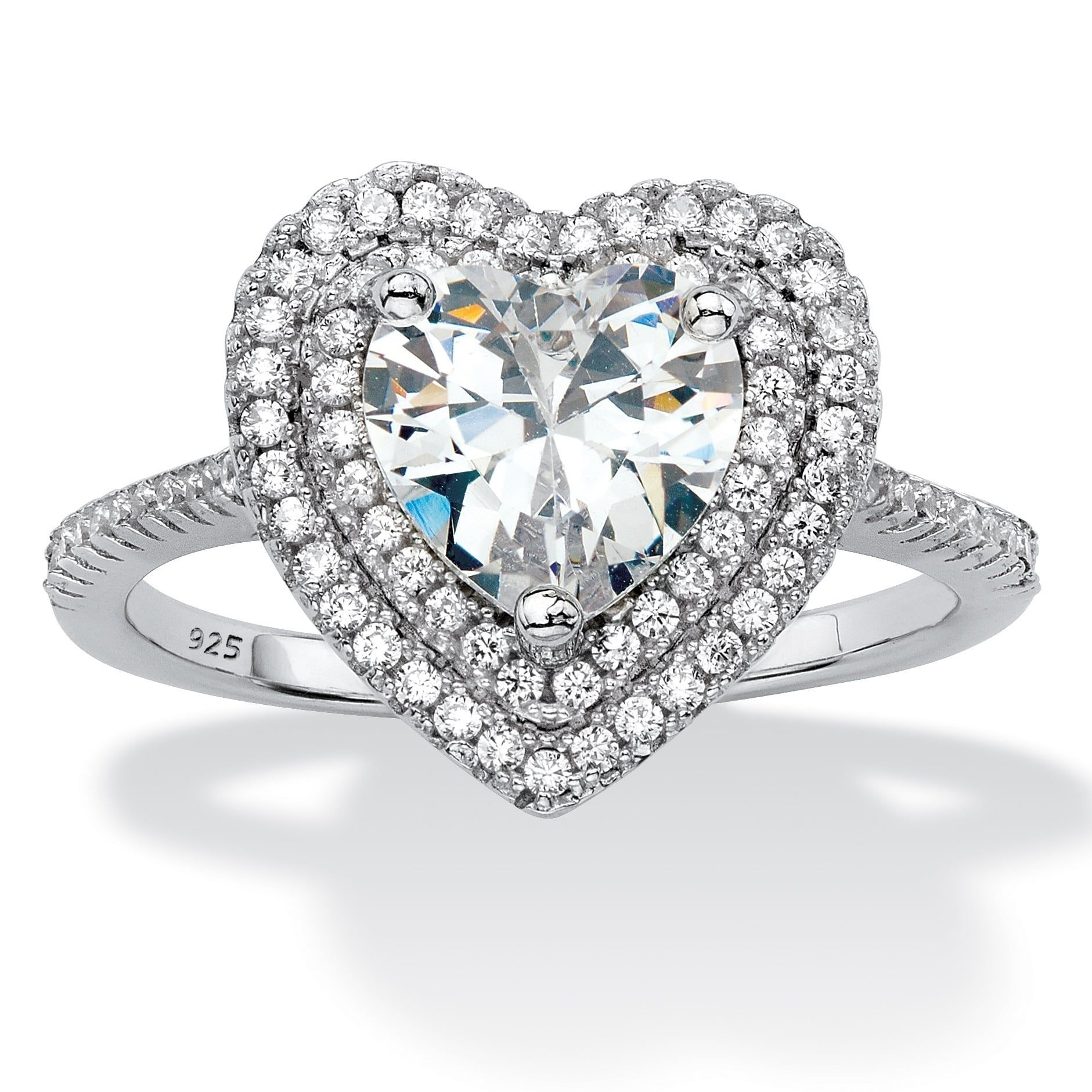 Platinum over Sterling Silver Cubic Zirconia Halo
