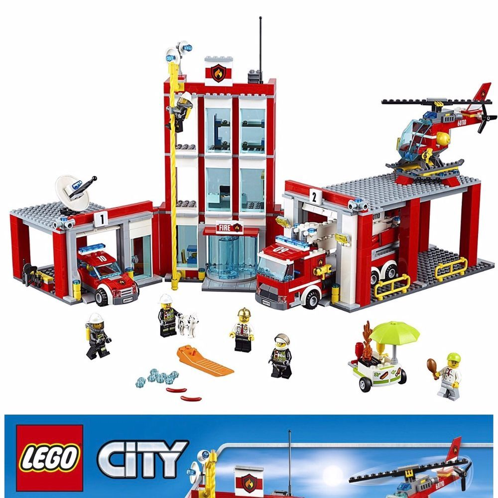 Lego Fire Station Firehouse Truck Chief Car Garage Helicopter Lego