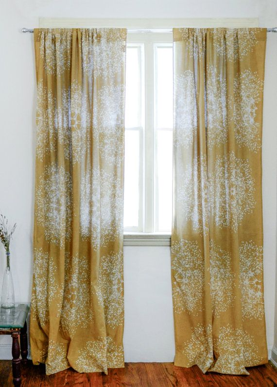 Custom Listing Yellow Window Curtains Block Print Natural Dye