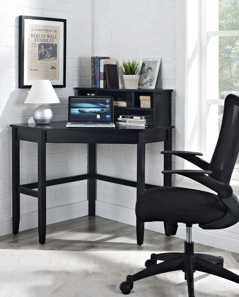 23 Stylish Desks That Will Actually Fit In Your Tiny Apartment Black Corner Desk Corner Writing Desk Small Corner Desk