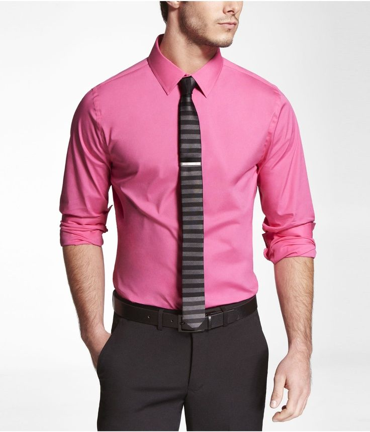 Pink Dress Shirt Black Striped Tie Black Belt Black Pants | shirts ...