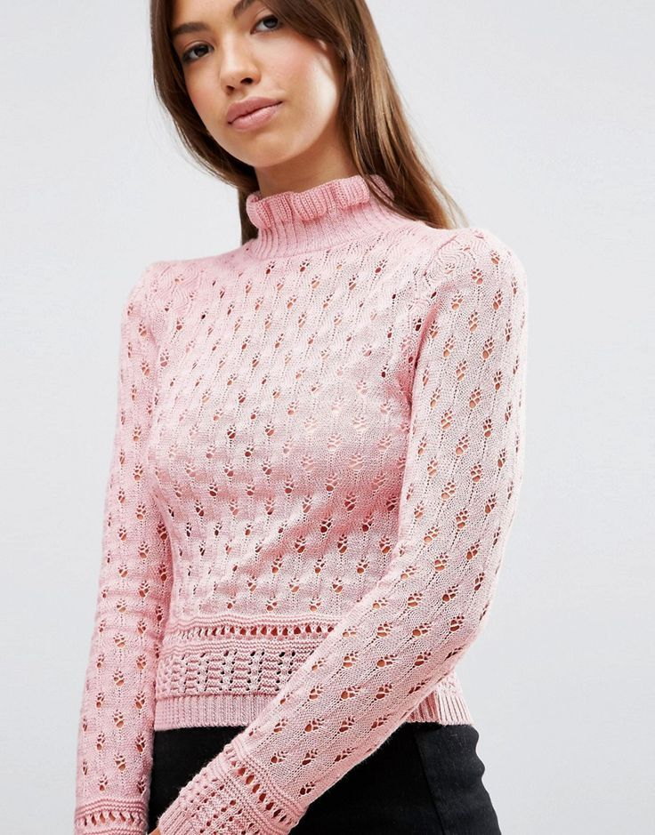 fa1e00124a ASOS Jumper In Pointelle With Ruffle Neck Detail