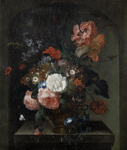 Pieter Terwesten (The Hague 1714-1798) Roses, convolvulus, auricula and other flowers in a bronze urn, in a stone niche; and   (2)