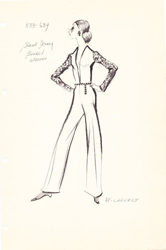 Original Vintage Fashion Sketch Stat Sheet by the house of Yves Saint  Laurent