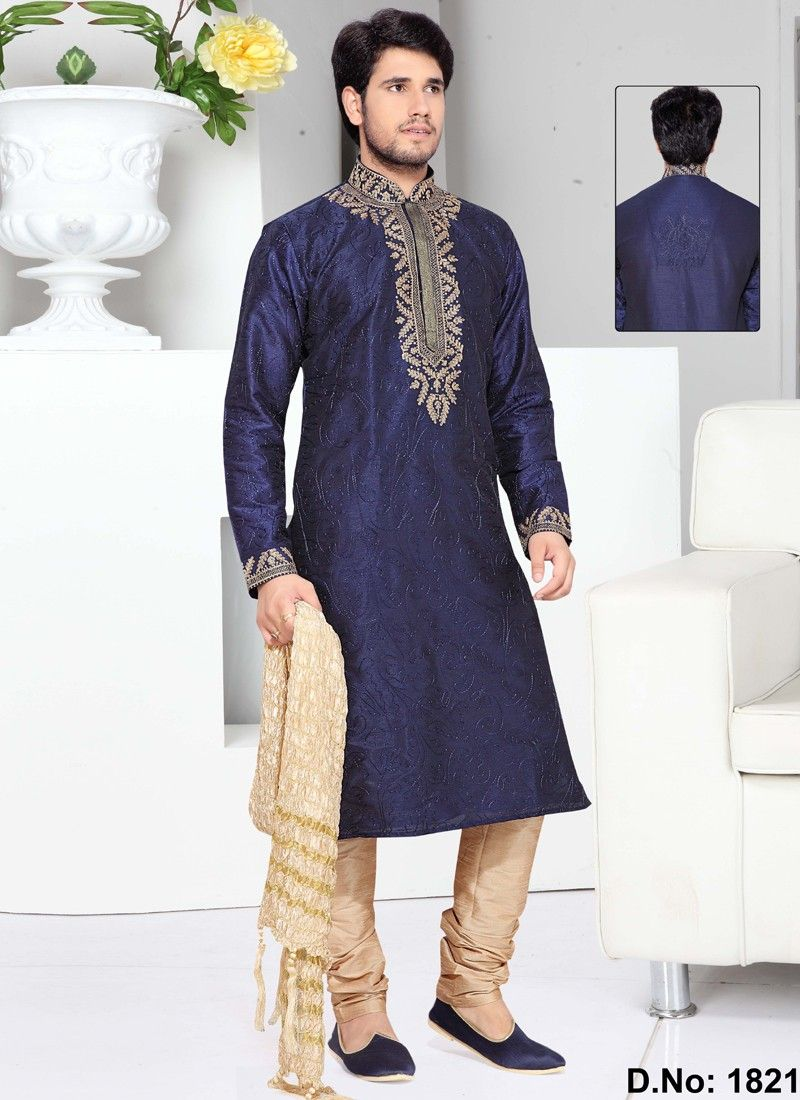 Groomsmen peerless navy blue art silk wedding wear kurta payjama