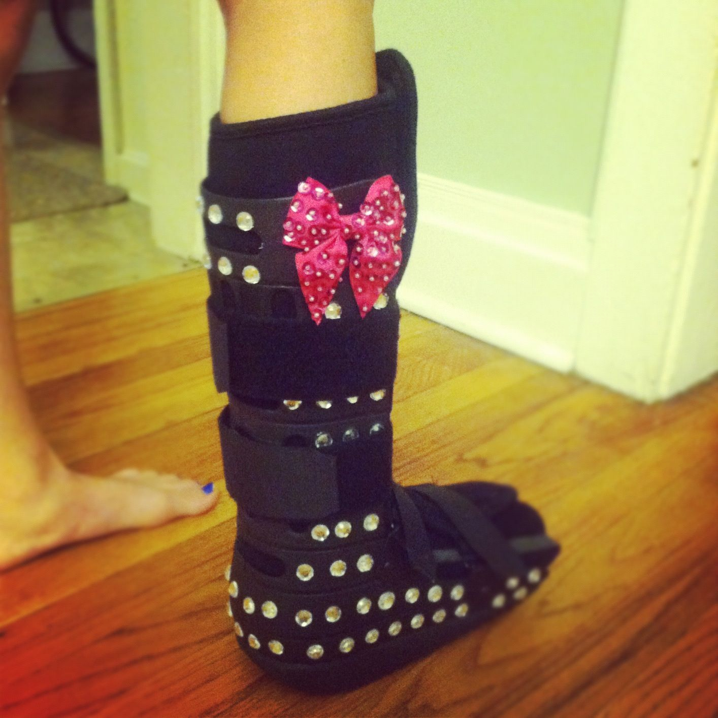 i totally should have done this :(!!! lol Bedazzled boot for a ...