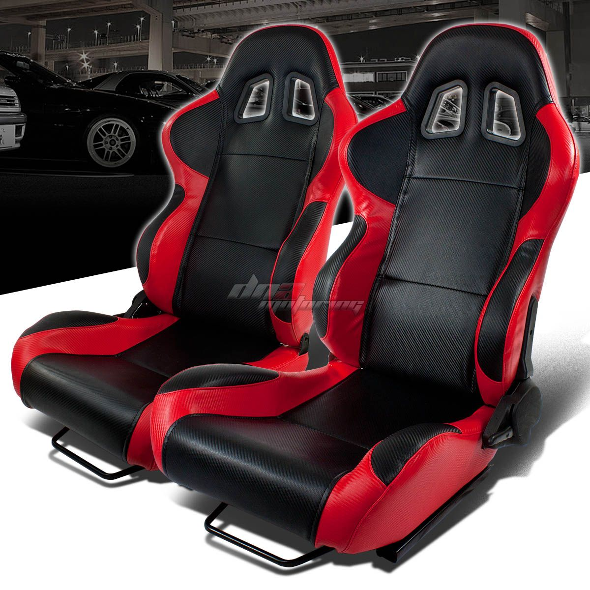 Full Reclinable Left Right Pair Red Black Trim Pvc Leather