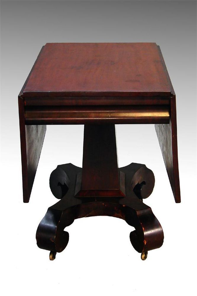 16245 Antique Empire Period Drop Leaf Dining Table