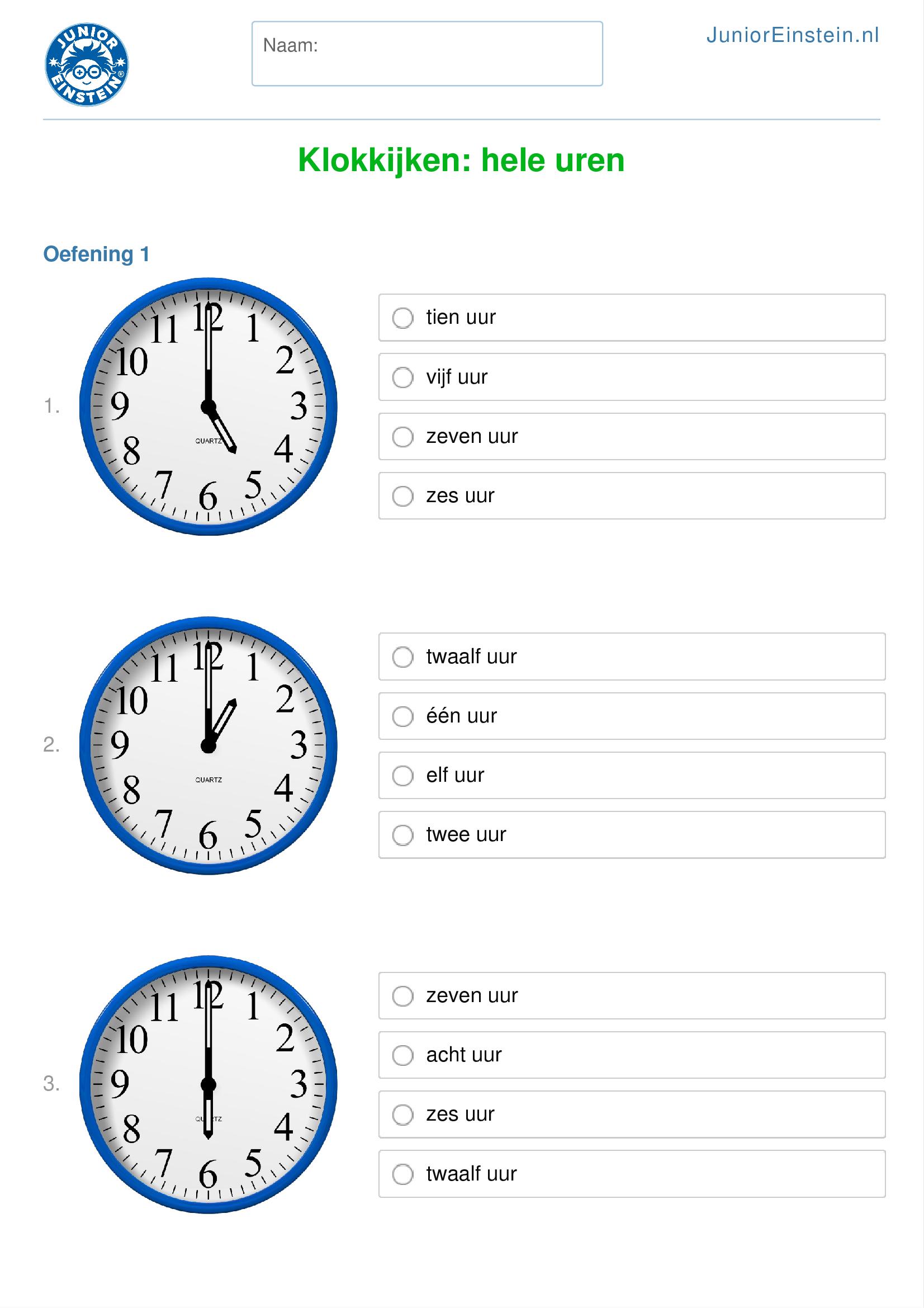 Spiksplinternieuw Werkblad: Klokkijken: hele uren (geschikt voor groep 5) in 2020 HR-09
